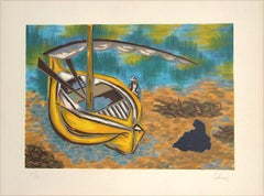 YELLOW BOAT Hand Drawn Lithograph, Shoreline, Sand, Sail Boat, Turquoise Water