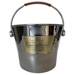 Laurent Perrier Champaign Silver-Tone Ice Bucket with Leather Handle