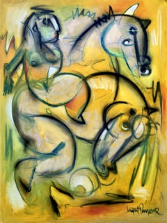 riding the wild horse, Painting, Oil on Canvas