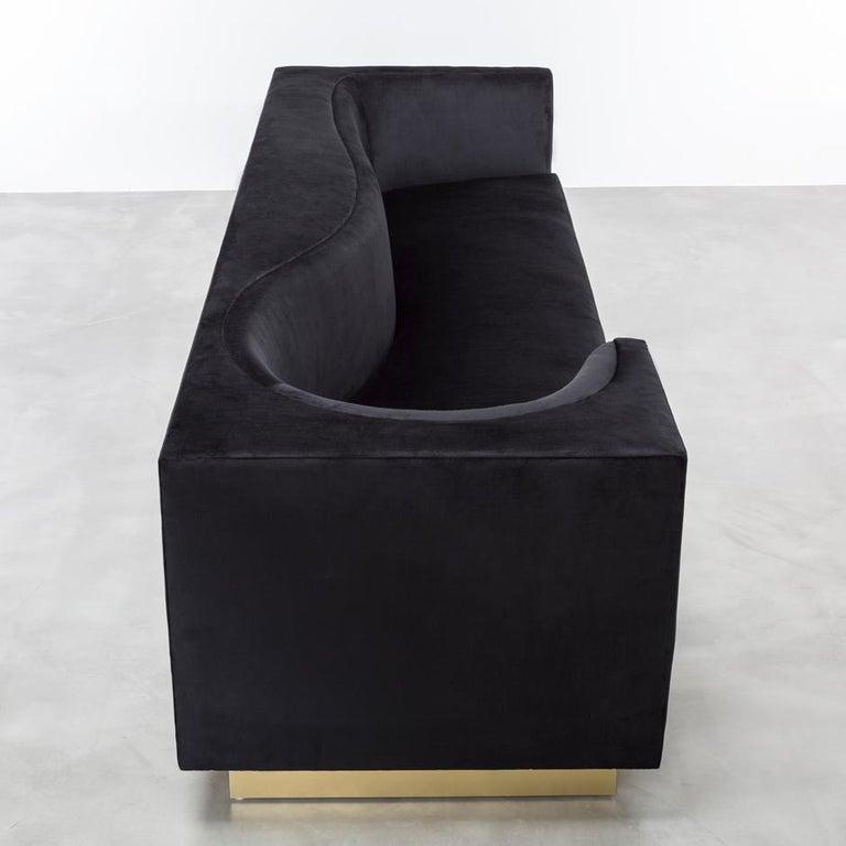 Laurent Sofa Black Glam Velvet In New Condition For Sale In Laguna Niguel, CA