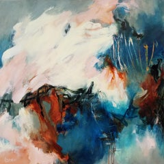 A Depth Not Moved- Gestural Contemporary Abstraction with Cream and Blue