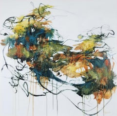 The Sound of Water II -  Contemporary Painting (Black+White+Yellow+Green)