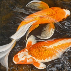 'Murmur' Contemporary Realist Koi Fish Oil Painting on Canvas