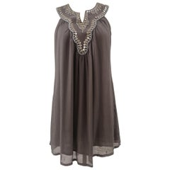 Laurie & Joe paris grey with silver beads silk dress
