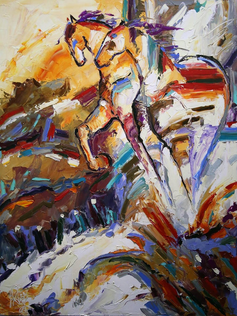 Hilltoppers - Original Horse Painting Colorful Equine Art Modern Western Artwork