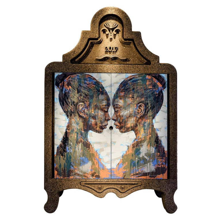 """Laurie Wiid van Heerden and Lionel Smit, """"Lineage"""" Hand-Painted Cork Cabinet For Sale"""