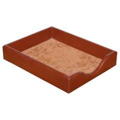 Laurige Croute De Vachette Paris Brown Leather & Suede Desk Tidy Document Holder