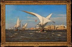 Ottoman Feluccas. Fine Original Marine Oil Painting. Seascape. Danish Artist.