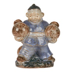 Lauritz Adolph Hjorth Danish Midcentury Pottery Asian Figure Carrying Pots