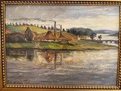 'Parti Vod Sundet Horsens Fjord Nordstrom,' Lauritz Howe, Oil on Board Painting