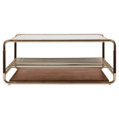 Lautner Tisch aus Messing, Rauchglas und Holz von Essential Home
