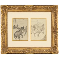 Lautrec Pencil Drawing Diptych of Figures Riding Horses in a Gilt Frame