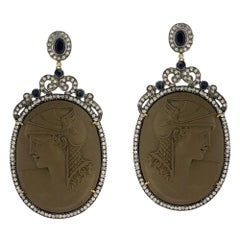 Lava Cameo Earring with Diamonds Set in Gold and Silver