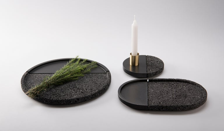 Minimalist Lava Candleholder, Volcanic Rock and Brass For Sale