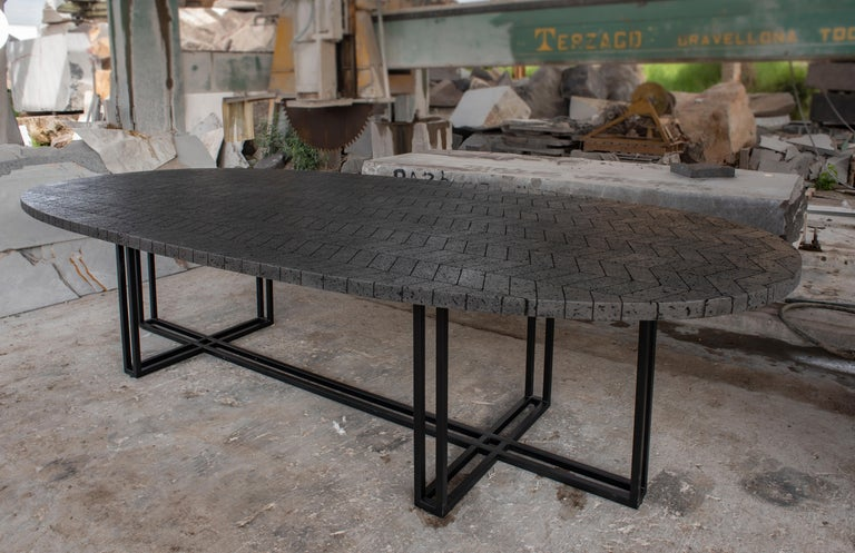 Mexican LAVA Oval Table, Metal and Volcanic Rock, One of a Kind For Sale