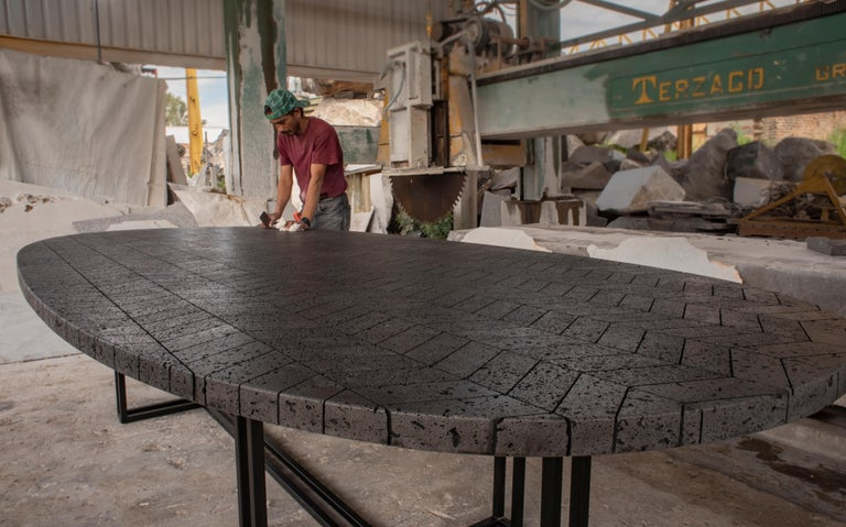 Anodized LAVA Oval Table, Metal and Volcanic Rock, One of a Kind For Sale