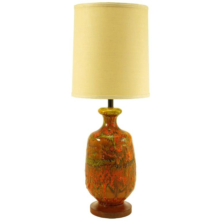 Lava Red Drip Glaze Hand Thrown Ceramic Body Table Lamp