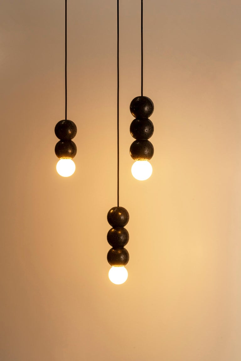 """Chinese Lava Stone and Aluminum Pendant Light, """"Oops,"""" by Buzao For Sale"""