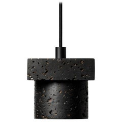 "Lava Stone and Aluminum Pendant Light, ""T1,"" by Buzao"