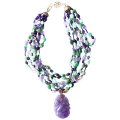 Lavander Jade Amethyst Amazzonite 18 Karat Gold Necklace