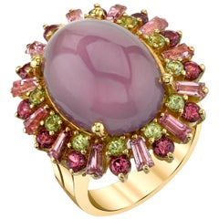 Lavender Chalcedony Cabochon Oval w/ Pink, Green Gems, 18k Dome Cocktail Ring