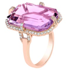 Lavender Amethyst Emerald Cut Ring with Diamonds