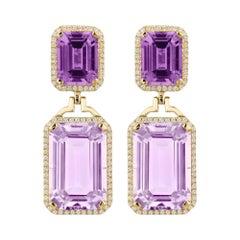 Goshwara Emerald Cut Amethyst And Lavender With Diamond Earrings