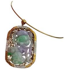 Lavender and Green Jadeite Jade 2.2 Carat Diamond Gold Pendant Necklace