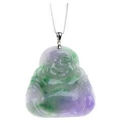 Lavender and Green Jadeite Jade Buddha, Certified Untreated