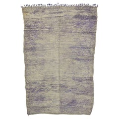 Lavender-Gray Vintage Berber Moroccan Rug with Boho Chic Hygge Vibes