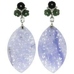 Lavender Jade 18 Karat White Gold Diamonds Drop Earrings