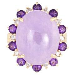 Lavender Jade Amethyst Diamond Ring Vintage 14 Karat Yellow Gold Oval Cocktail