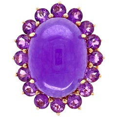 Lavender Jade and Amethyst Gold Cocktail Ring Estate Fine Jewelry