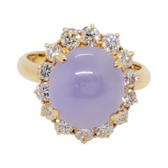 Lavender Jade Cabochon and White Diamond Cocktail Ring in 18k Yellow Gold