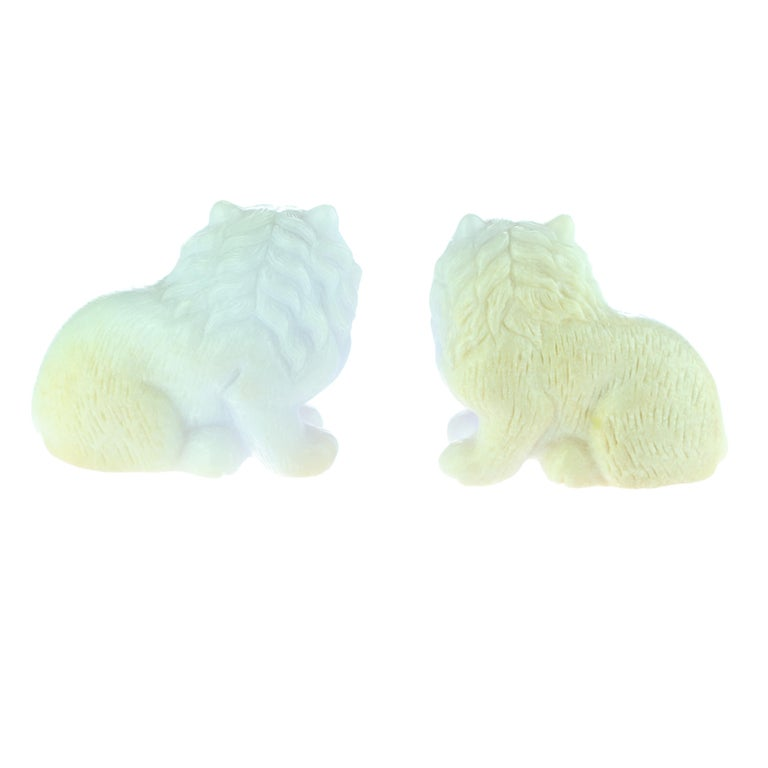 Chinese Export Lavender Jade Cat Feline Animal Asian Art Blue Green Home Deco Sculpture For Sale