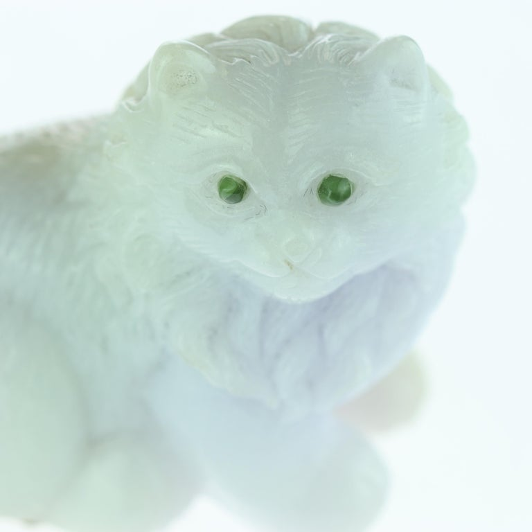 Lavender Jade Cat Feline Animal Asian Art Blue Green Home Deco Sculpture In Excellent Condition For Sale In Milano, IT