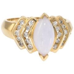 Lavender Jade Diamond Navette Cocktail Ring