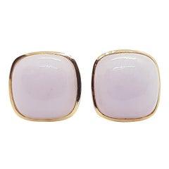 Lavender Jade Earrings Set in 18 Karat Rose Gold Settings