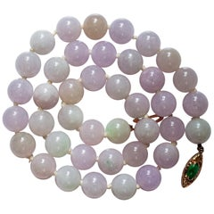 Lavender Jade Necklace from Midcentury Certified Untreated