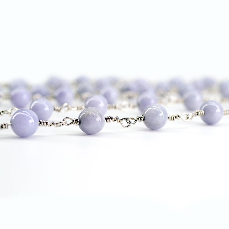 Lavender Jade Necklace with Silver Links Natural and Untreated In New Condition For Sale In Southbury, CT