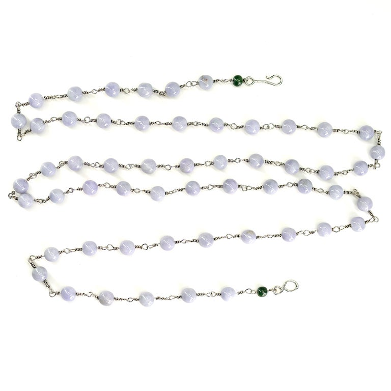 Lavender Jade Necklace with Silver Links Natural and Untreated For Sale 7