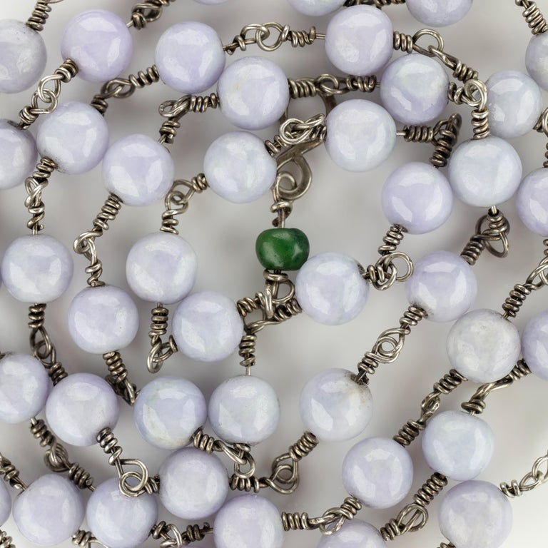 Lavender Jade Necklace with Silver Links Natural and Untreated For Sale 5