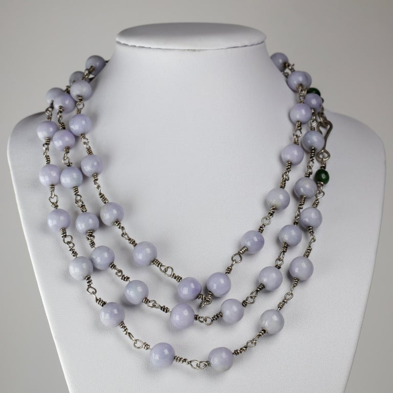 Artisan Lavender Jade Necklace with Silver Links Natural and Untreated For Sale