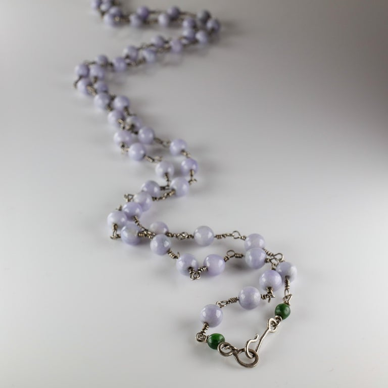 Lavender Jade Necklace with Silver Links Natural and Untreated For Sale 2