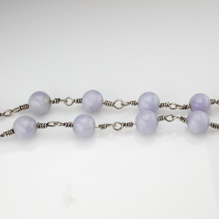 Lavender Jade Necklace with Silver Links Natural and Untreated For Sale 3