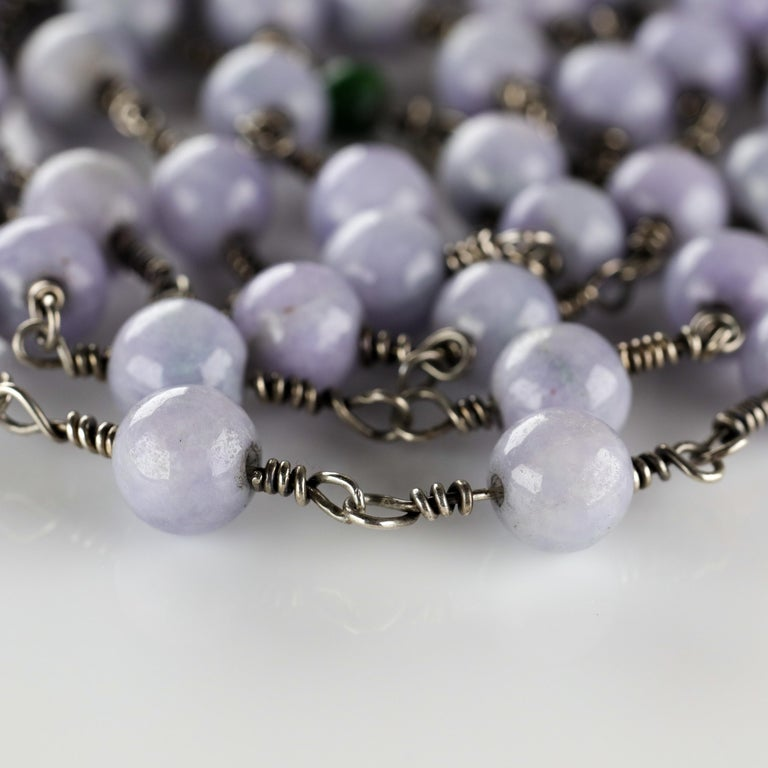 Lavender Jade Necklace with Silver Links Natural and Untreated For Sale 4