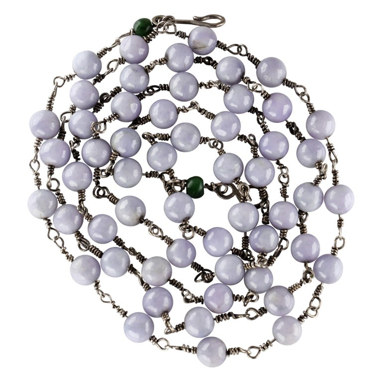 Lavender Jade Necklace with Silver Links Natural and Untreated For Sale