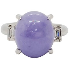 Lavender Jade Oval Cabochon and White Diamond Emerald Cut Ring in Platinum