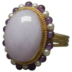 Lavender Jade, Pearl and Amethyst Ring