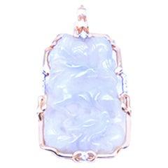 Lavender Jade Pendant Enhancer Carved Diamond 18 Karat Yellow Gold